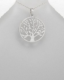 Tree of Life Pendant Sterling Silver in Outer Circular Band