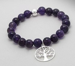 Tree of Life Bracelet, Sterling Silver Charm & Amethyst Beads