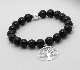 Tree of Life Black Agate Bracelet with Sterling Silver Charm