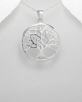 Tree of Life Sterling Silver Pendant 32mm with Convex Contour