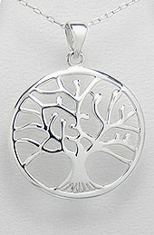 Tree of Life Sterling Silver Pendant 32mm with Convex Contour - Click Image to Close